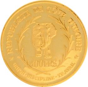 Moneda Costa Marfil 100 Francs 900 milésimas Oro 1966 32 g