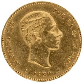 Moneda Alfonso XII 25 Pesetas Oro 1880 8,04 g