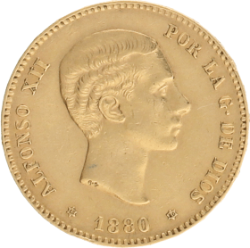 Moneda Alfonso XII 25 Pesetas Oro 1880 8,06 g