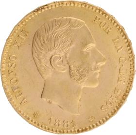 Moneda Alfonso XII 25 Pesetas Oro 1881 8,05 g
