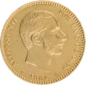 Moneda Alfonso XII 25 Pesetas Oro 1881 8,06 g