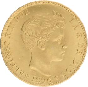 Moneda Estado Español 20 Pesetas Oro 1896 Madrid MPM 6,40 g