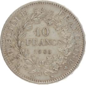 Moneda Francia 10 Francs Hércules Plata 1965 24,96 g
