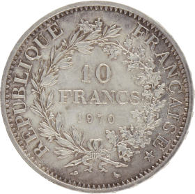 Moneda Francia 10 Francs Hércules Plata 1970 24,98 g