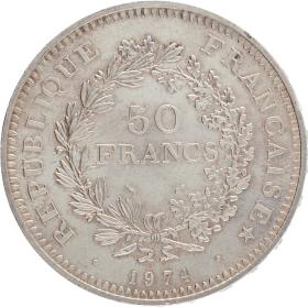 Moneda Francia 50 Francs Hércules Plata 1974 30,10 g