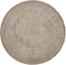 Moneda Francia 50 Francs Hércules Plata 1974 30,18 g