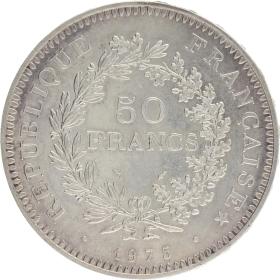 Moneda Francia 50 Francs Hércules Plata 1975 30,01 g