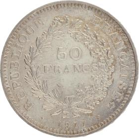 Moneda Francia 50 Francs Hércules Plata 1977 29,87 g