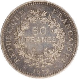 Moneda Francia 50 Francs Hércules Plata 1978 30,09 g
