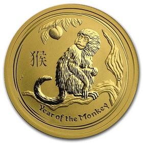 Moneda Australia Año Lunar del Mono de 50 Dollars Oro 2016 <sup>1</sup>/<sub>2</sub> oz