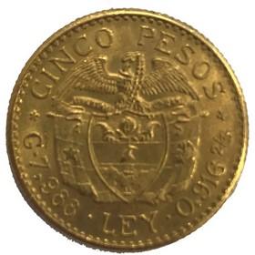 Moneda Colombia 5 Pesos Oro 1927 7,99 g
