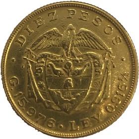 Moneda Colombia 10 Pesos Oro 1919 16,13 g