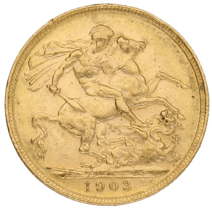Moneda Australia 1 Libra Soberano Oro 1903 Melbourne 7,98 gr