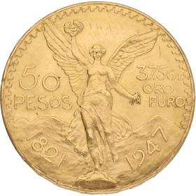 Moneda México 50 Pesos Oro 1947 41,67 g