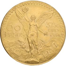Moneda México 50 Pesos Oro 1947 41,63 g