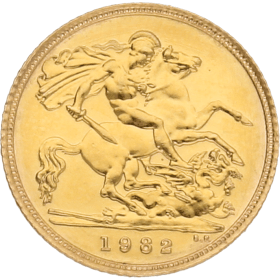 Moneda Reino Unido 1/2 Libra Soberano Oro 1982 3,99 g