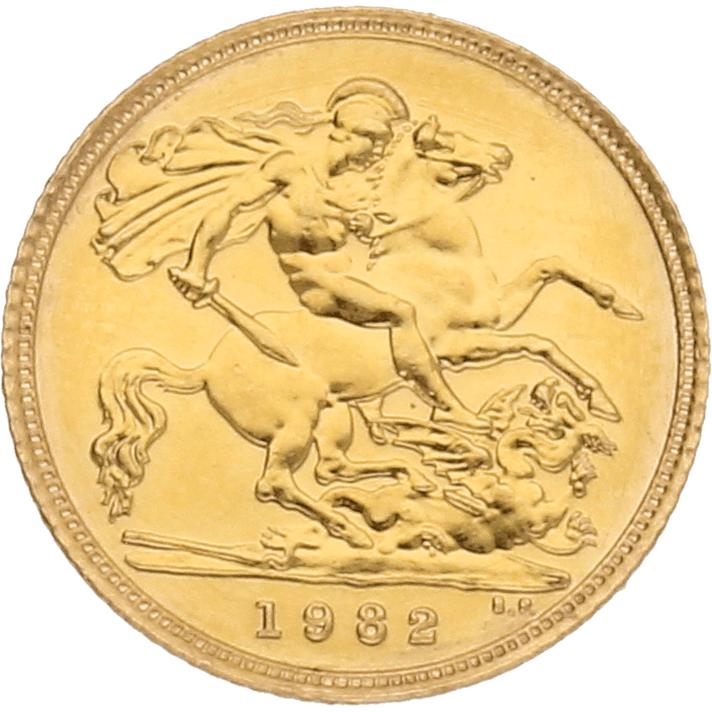 Moneda Reino Unido 1/2 Libra Soberano Oro 3,99 g