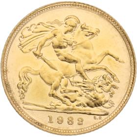 Moneda Reino Unido 1/2 Libra Soberano Oro 1982 3,94 g