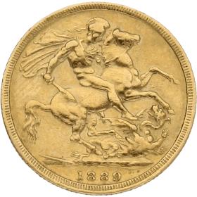 Moneda Reino Unido 1 Libra Soberano Oro 1889 7,88 g