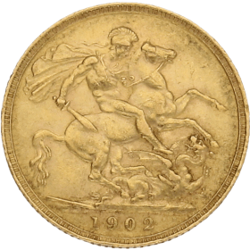 Moneda Reino Unido 1 Libra Soberano Oro 1902 7,97 g