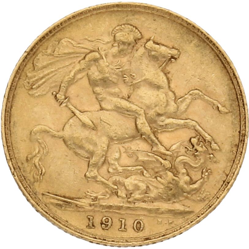 Moneda Reino Unido 1 Libra Soberano Oro 1910 7,95 gr