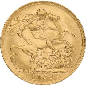 Moneda Australia 1 Libra Soberano Oro 1922 Perth 7,99 g