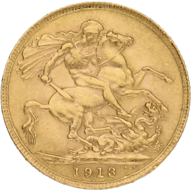 Moneda Reino Unido 1 Libra Soberano Oro 1913 7,97 g