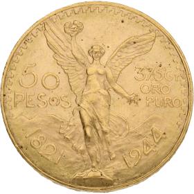Moneda México 50 Pesos Oro 1944 41,65 g