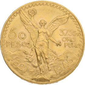 Moneda México 50 Pesos Oro 1946 41,62 g