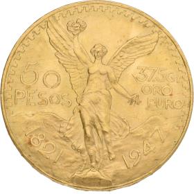 Moneda México 50 Pesos Oro 1947 41,59 g