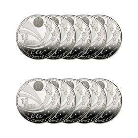 Lote de 12 Euros*10 Monedas de Plata española 180 g