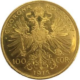 Moneda Austria 100 Coronas Oro 1915 33,89 g