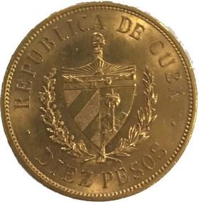Moneda Cuba 10 Pesos Oro 1916 16,72 g