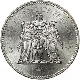 Moneda Francia 50 Francos Plata 300 g