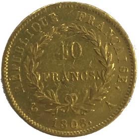 Moneda Francia 40 Francos Oro 1808 12,88 g