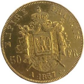 Moneda Francia 50 Francos Oro 1857 16,11 g