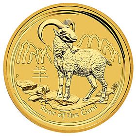 Moneda Australia Año Lunar de la Cabra de 15 Dolar Oro 2015 <sup>1</sup>/<sub>10</sub> oz