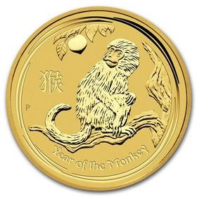 Moneda Australia Año Lunar del Mono de 15 Dolar Oro 2016 <sup>1</sup>/<sub>10</sub> oz